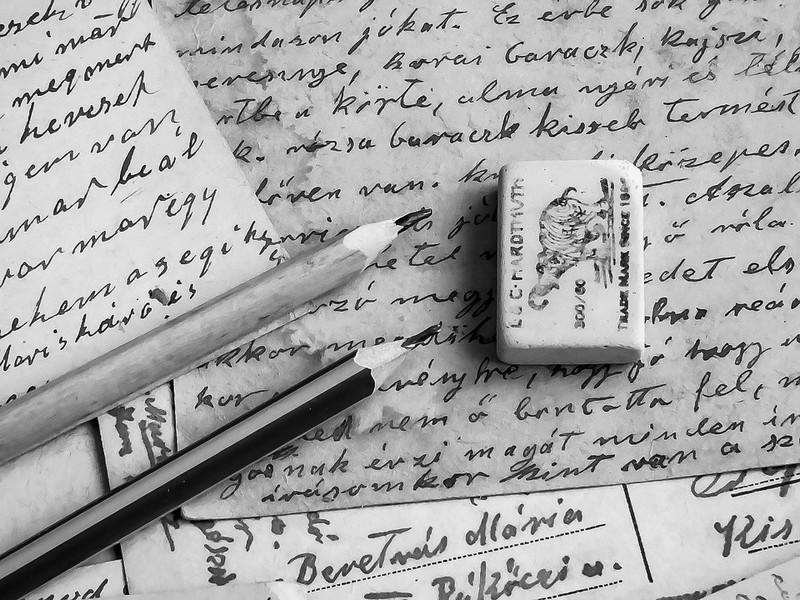 gomme crayons de papier, manuscrit